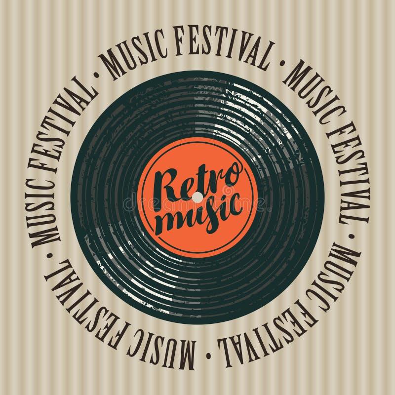 Baner för retro musikfestival med vinylrekordet vektor illustrationer