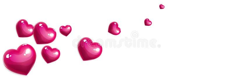 Baner för rosa färgförälskelsehjärtor stock illustrationer