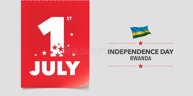 Baner för Rwanda lyckligt självständighetsdagenvektor, hälsningkort stock illustrationer