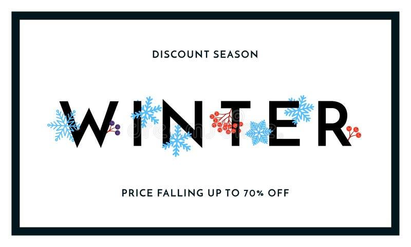 Baner för säsong för vinterförsäljningsrabatt eller affischdesignmall Text för shopping för rabatt för försäljning för vektorvint stock illustrationer
