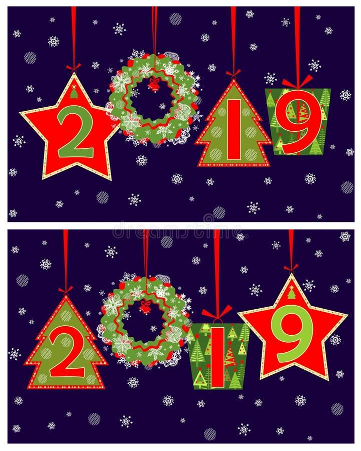 Baner för för säsonghälsning för nytt år 2019 applique med att hänga klippta ut nummer, gåvaasken, kransen, gran, stjärnan och sn royaltyfri illustrationer