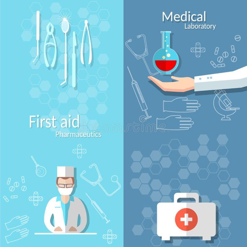Baner för sats för första hjälpen för hand för doktor för medicinbloddonation stock illustrationer