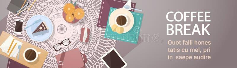 Baner för sikt för vinkel för överkant för tabell för kaka för avbrottskaffekopp royaltyfri illustrationer