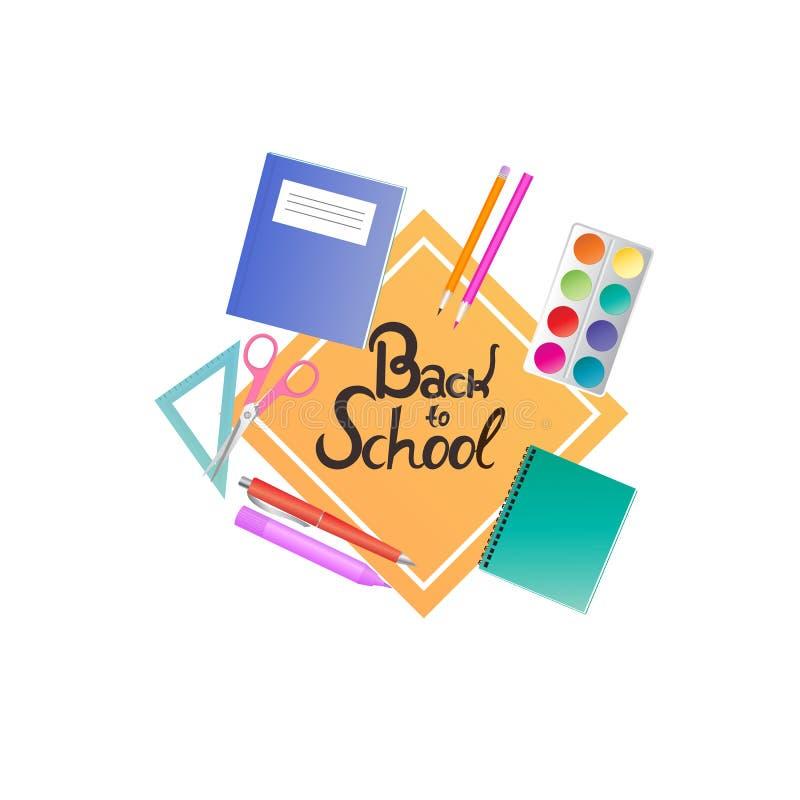 Baner för skolatillförsel Dra tillbaka till skolahandbokstäver vektor illustrationer
