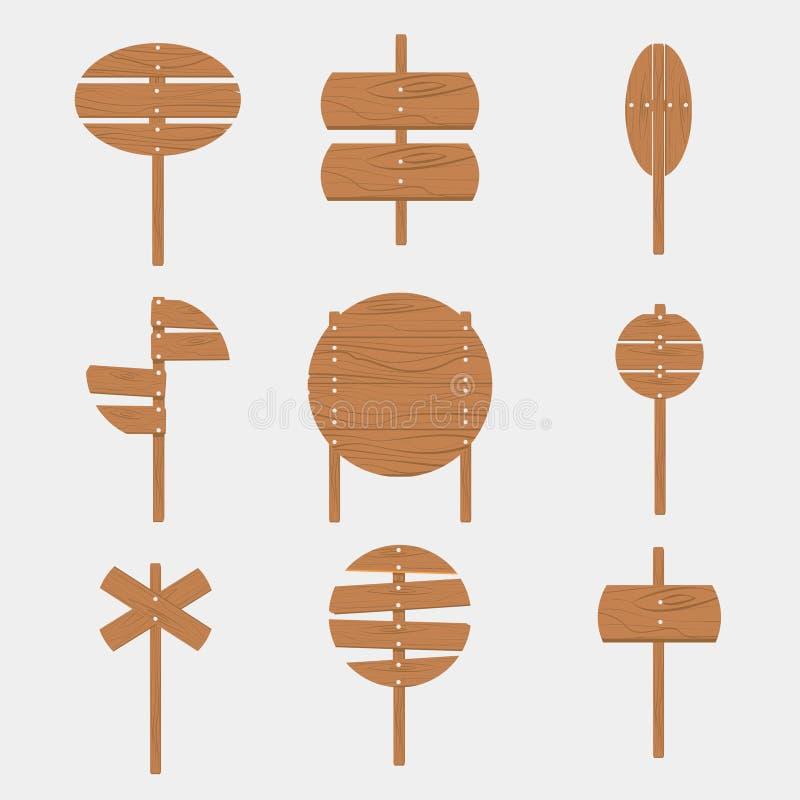 Baner för skylt för träskyltpiltecken tomt stock illustrationer