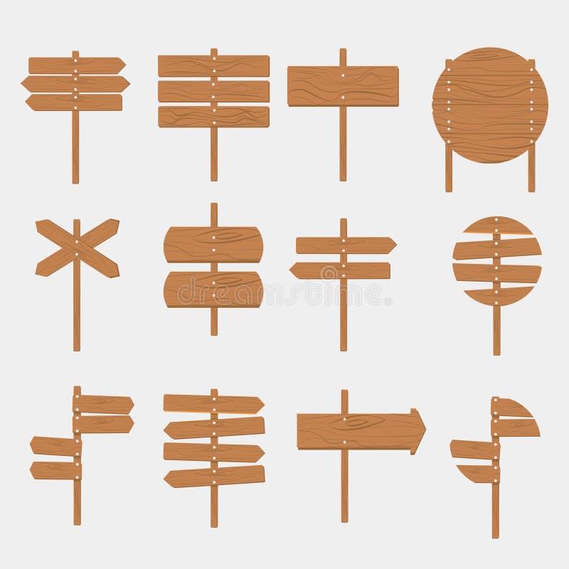 Baner för skylt för träskyltpiltecken tomt vektor illustrationer
