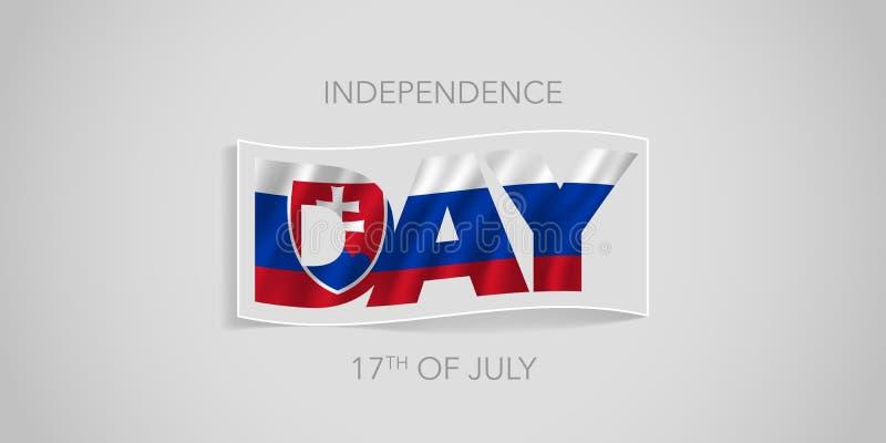 Baner för Slovakien lyckligt självständighetsdagenvektor, hälsningkort royaltyfri illustrationer