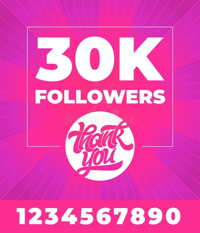 Baner för socialt massmedia Tacka dig anhängare 300K Vektortypografi med alla siffror på ljus rosa bakgrund redigerbart royaltyfri illustrationer