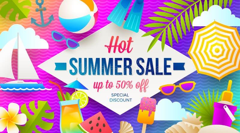 Baner för sommarförsäljningsbefordran Semester, ferier och färgrik ljus bakgrund för lopp Affisch- eller reklambladdesign royaltyfri illustrationer
