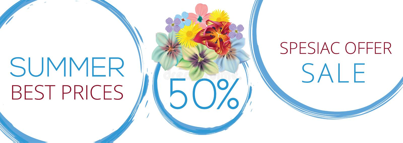 Baner för sommarförsäljningsblomma med text på vit bakgrund med härliga blommor Konstnärliga designvektorbaner som hälsar stock illustrationer