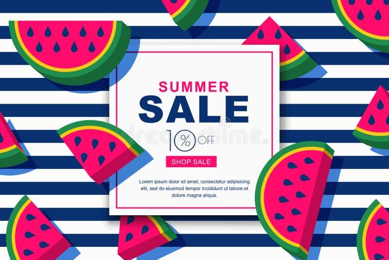 Baner för sommarförsäljningsvektor ställde in med plana vattenmelonskivor för stil 3d Orientering för rabattetiketter, reklamblad royaltyfri illustrationer