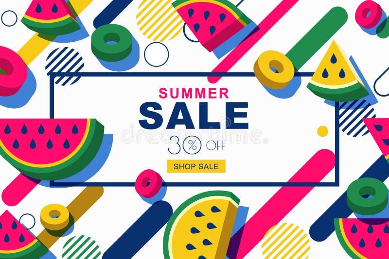 Baner för sommarförsäljningsvektor ställde in med skivor för vattenmelon 3d och geometriska former för rörelse Orientering för ra royaltyfri illustrationer