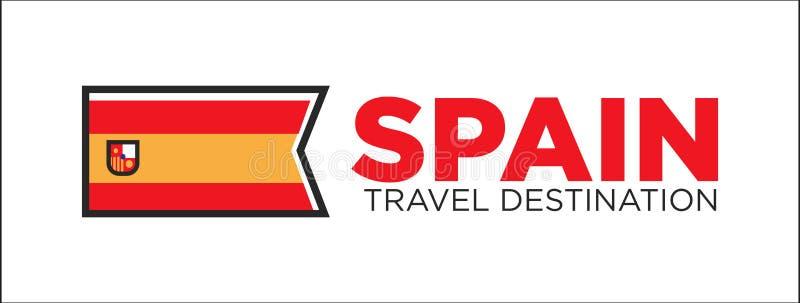 Baner för Spanien loppdestination stock illustrationer