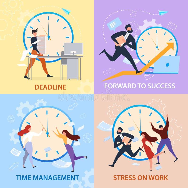 Baner för stopptid för arbete för spänning för framgångTid ledning royaltyfri illustrationer