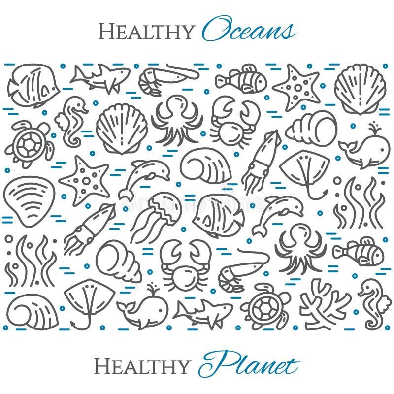 Baner för svart och för blått för tema för världshavdag - pictograms av fisken, delfin, skalet, hajen, sköldpaddan och annan mari vektor illustrationer