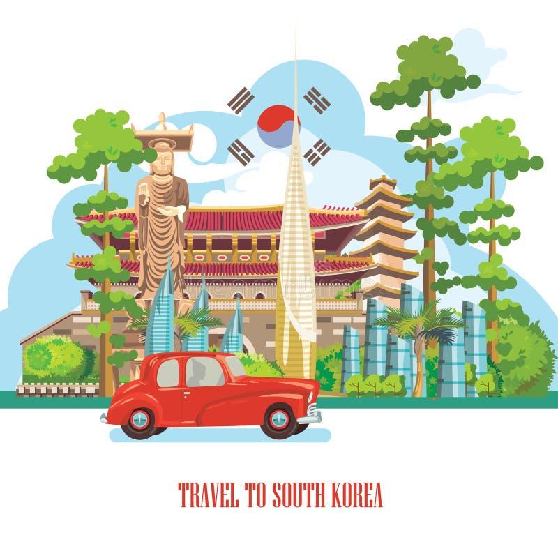 Baner för Sydkorea loppvektor med pagoder, den röda bilen och traditionellt tecken Korea resakort med koreanska objekt royaltyfri illustrationer