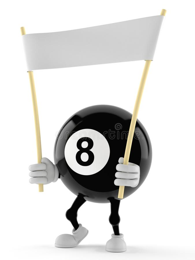 Baner för tecken för åtta boll hållande royaltyfri illustrationer