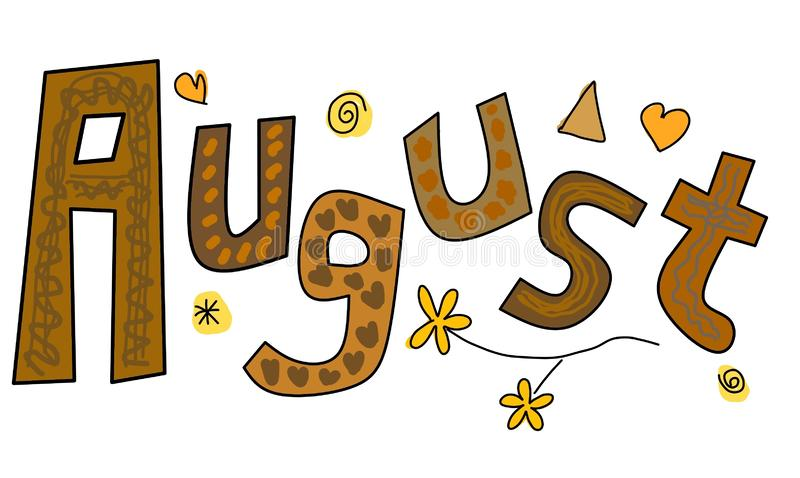 Baner för tecknad film för August Doodle Clipart Sticker Design vektorillustration stock illustrationer