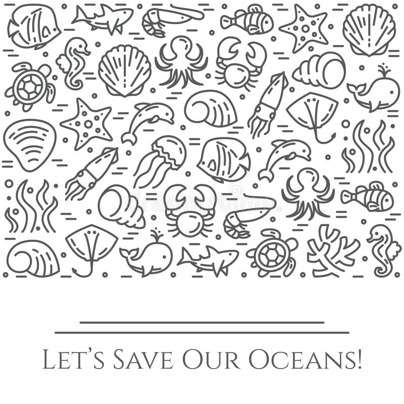 Baner för tema för världshavdag svartvitt - pictograms av fisken, skalet, hajen, delfin, sköldpaddan och andra havsvarelser gälld royaltyfri illustrationer