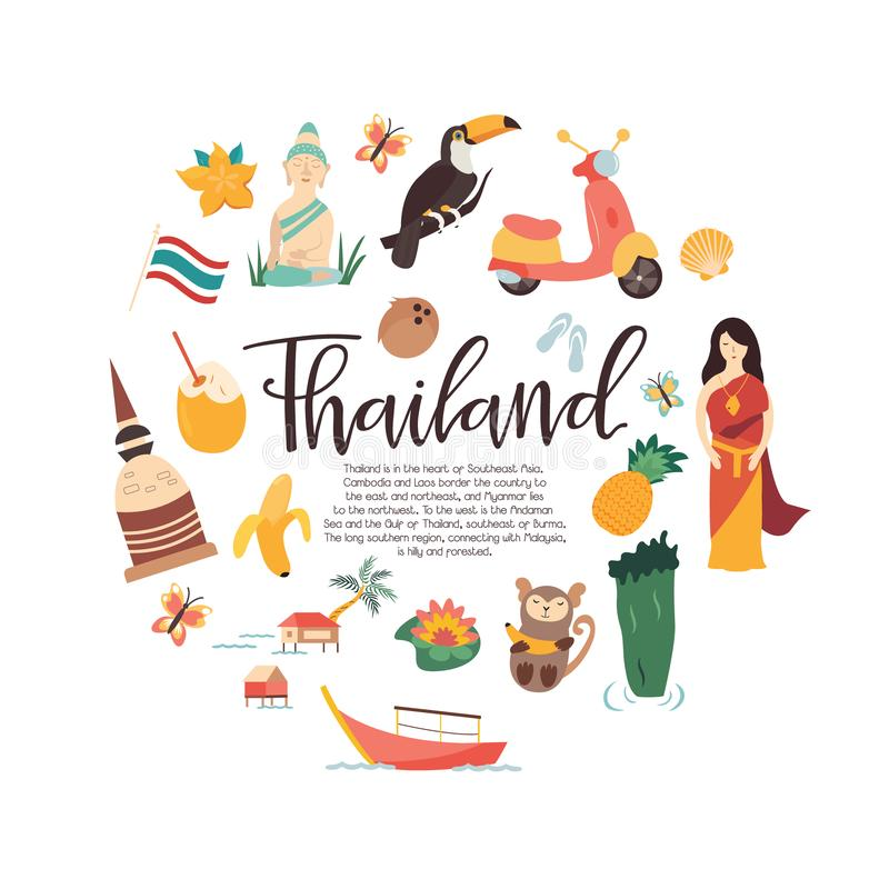 Baner för Thailand tecknad filmvektor Bluen colors collage vektor illustrationer
