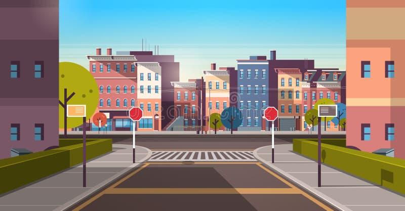 Baner för tom i stadens centrum för väg för arkitektur för hus för stadsgatabyggnad horisontalstads- för cityscape soluppgång för stock illustrationer