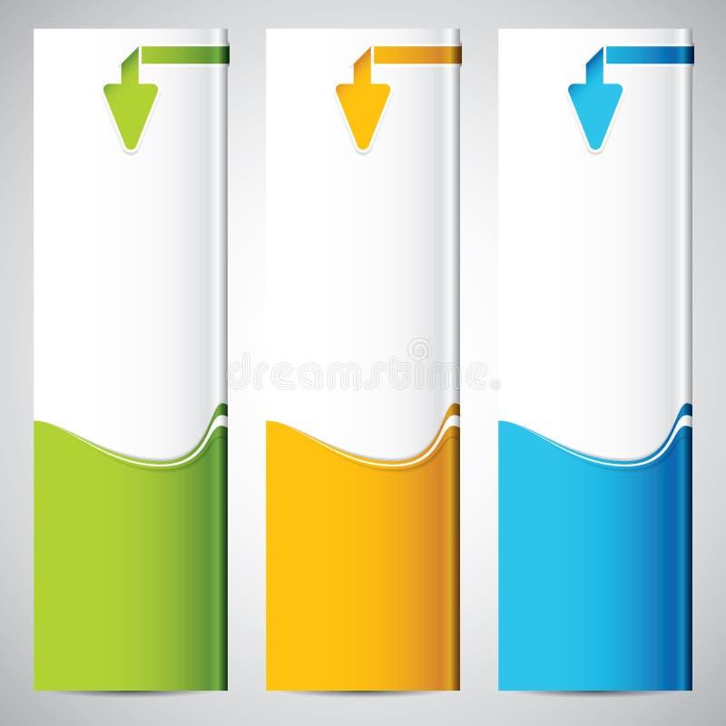 Baner för tre universal vektor illustrationer