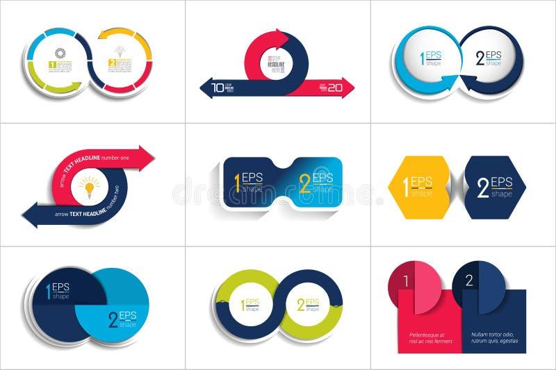 Baner för två beståndsdelar 2 moment planlägger, kartlägger, infographic steg-för-steg nummeralternativ, orientering royaltyfri illustrationer