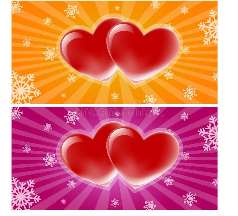 Baner för två hjärtor royaltyfri illustrationer