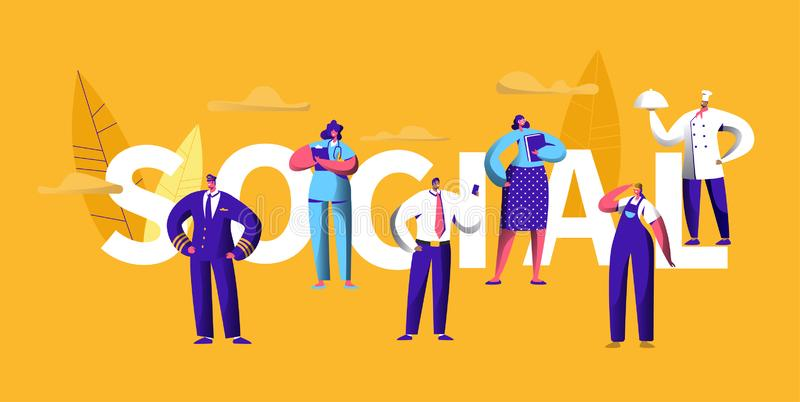 Baner för typografi för ockupation för karriär för socialt massmedia för folk olikt Yrkesmässig kock Profile Character Personjobb royaltyfri illustrationer