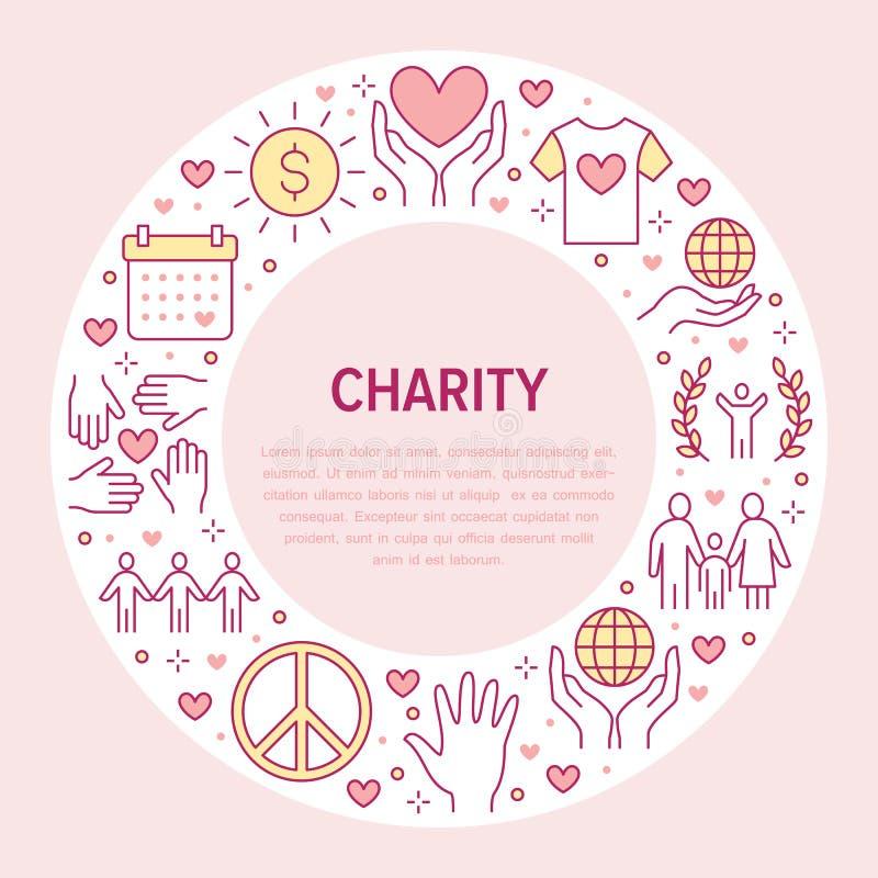 Baner för välgörenhetvektorcirkel med den plana linjen symboler Donation ideell organisation, NGO som ger hjälpillustrationen royaltyfri illustrationer