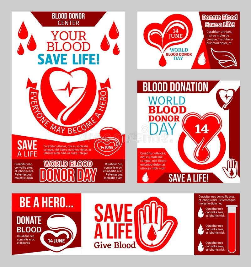 Baner för världsblodgivaredag med hjärta och droppe stock illustrationer