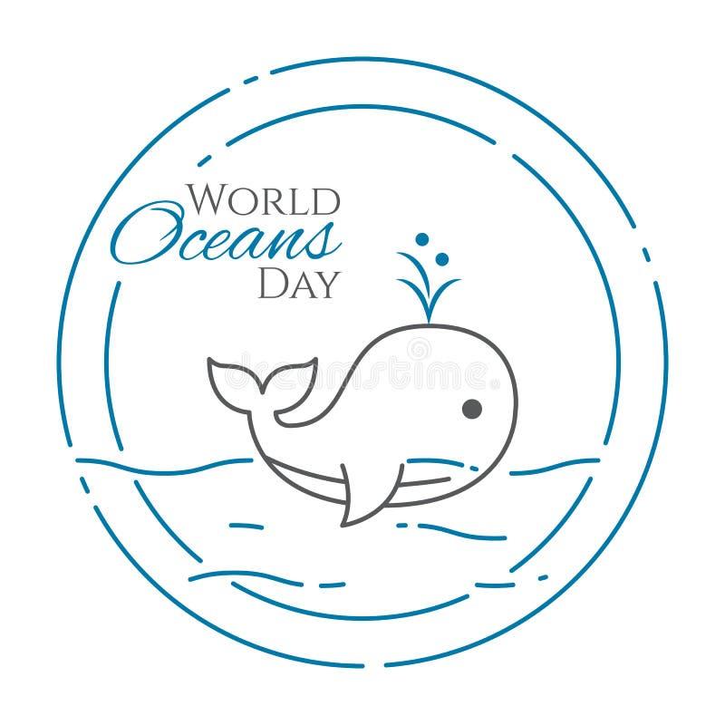 Baner för världshavdag med det gulliga simningvalet som driver ut vattenlinjen stil som isoleras på vit bakgrund royaltyfri illustrationer
