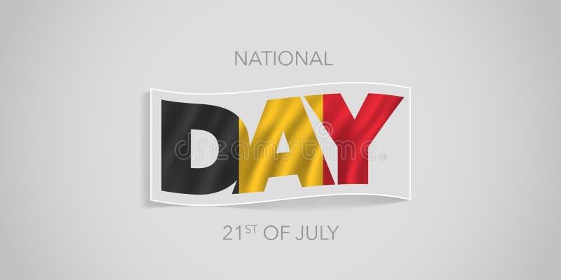 Baner för vektor Belgien lyckligt för nationell dag, hälsningkort royaltyfri illustrationer