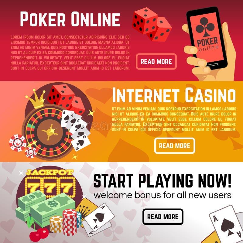 Baner in för vektor för kasino för internet för pokerställde online-dobbellotteri stock illustrationer