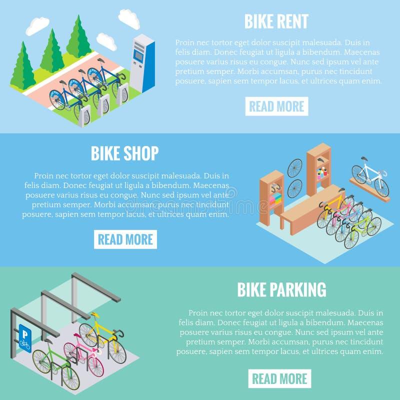 Baner för vektor för stadscykelbegrepp i isometrisk stil Illustration i den plana designen 3d Cykelparkering, reparation shoppar  royaltyfri illustrationer
