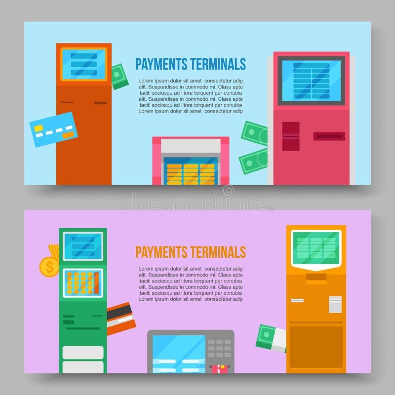 Baner för vektor för självbetjäningbetalningterminaler Debitering och kreditkort och kassakvitto Digital pekskärm som är växelver vektor illustrationer