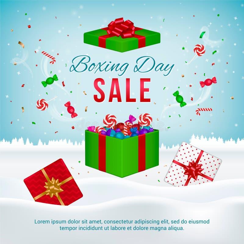 Baner för vektorannandagförsäljning med gåvaaskar stock illustrationer