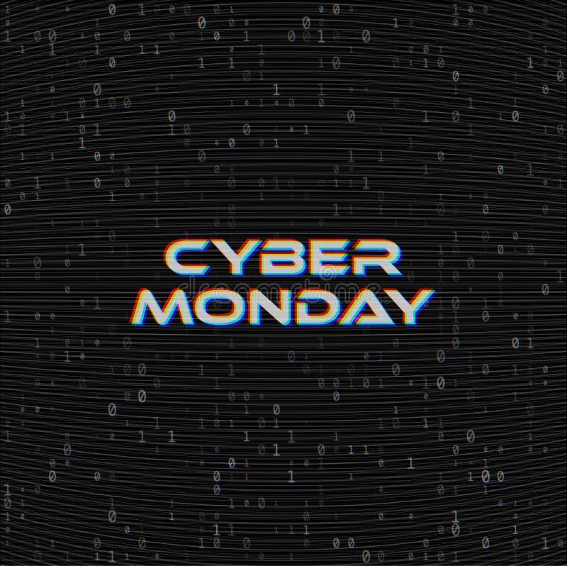 Baner för vektorCybermåndag Sale rengöringsduk på mörkerbakgrund för binär kod Online-begrepp för rengöringsdukshoppingdata Dator vektor illustrationer