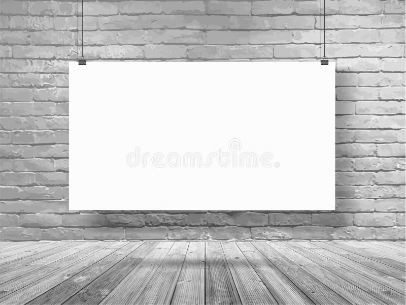Baner för vektormodellaffisch som hänger på vitt rum för tegelstenvägg stock illustrationer