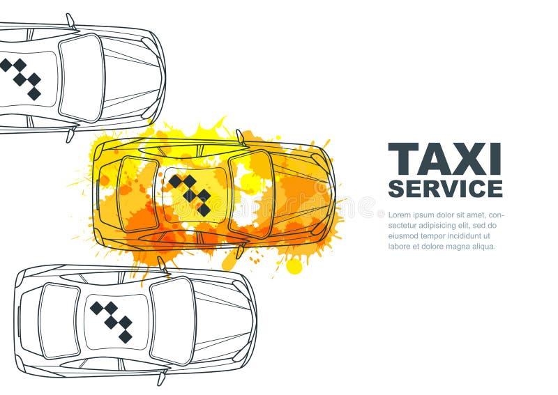 Baner för vektortaxiservice, reklamblad, affischdesignmall Appelltaxibegrepp Målad taxi för taxi gul vattenfärg vektor illustrationer