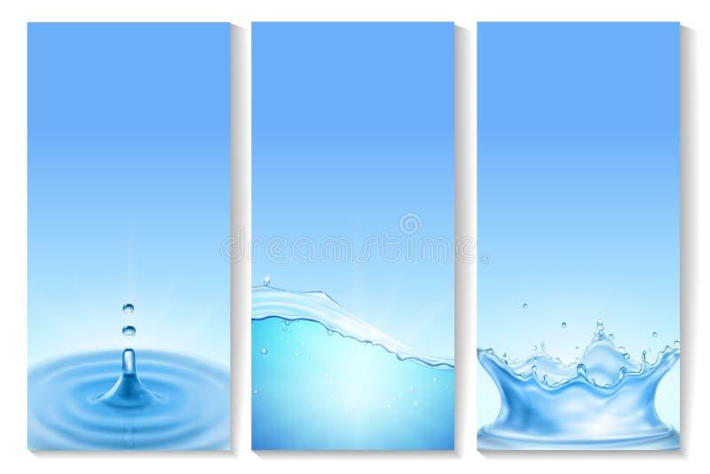 Baner för Vetical genomskinliga vattenvåg med bubblaflöden och droppar av kristallklart vatten av ljust - blå färg vektor illustrationer