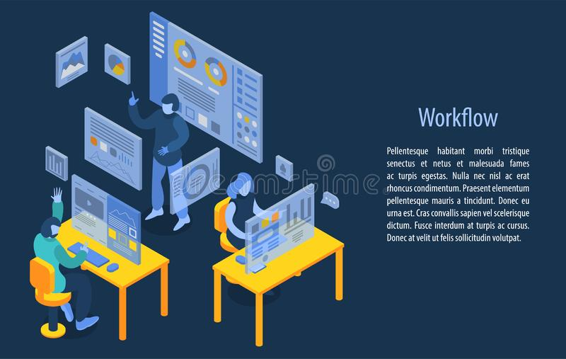 Baner för Workflowledningbegrepp, isometrisk stil stock illustrationer