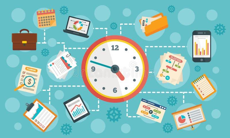 Baner för Workflowledningbegrepp, plan stil stock illustrationer