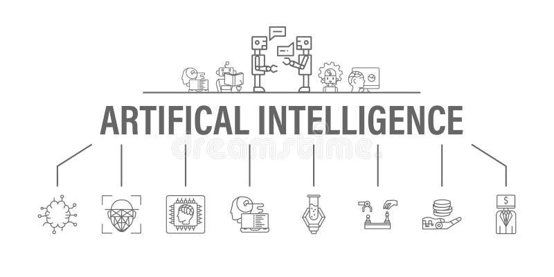 Baner f?r konstgjord intelligens med symbolsupps?ttningen Titelrad för website och socialt massmedia: Algoritm och djupt att lära vektor illustrationer