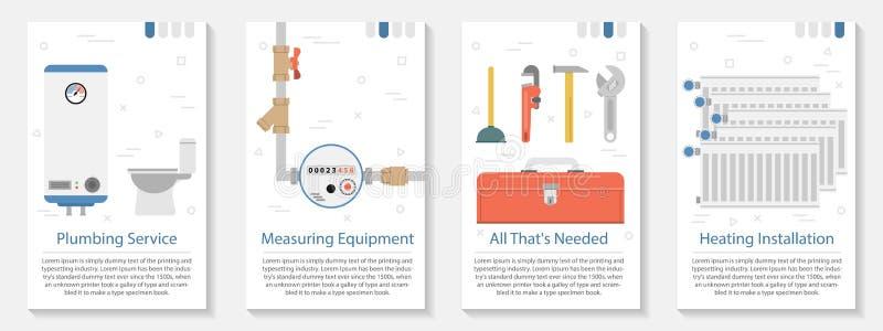 Baner fyra för rörmokareservice royaltyfri illustrationer