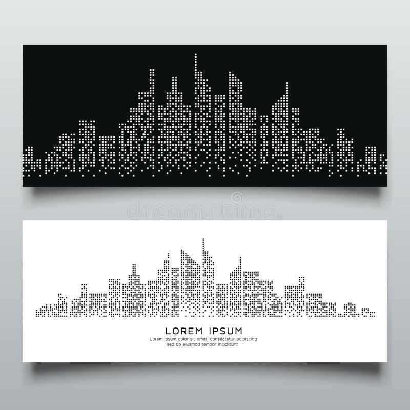 Baner gör sammandrag svartvit design för byggnadsprick royaltyfri illustrationer