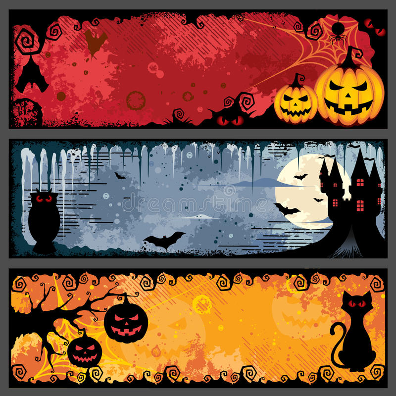 baner halloween stock illustrationer