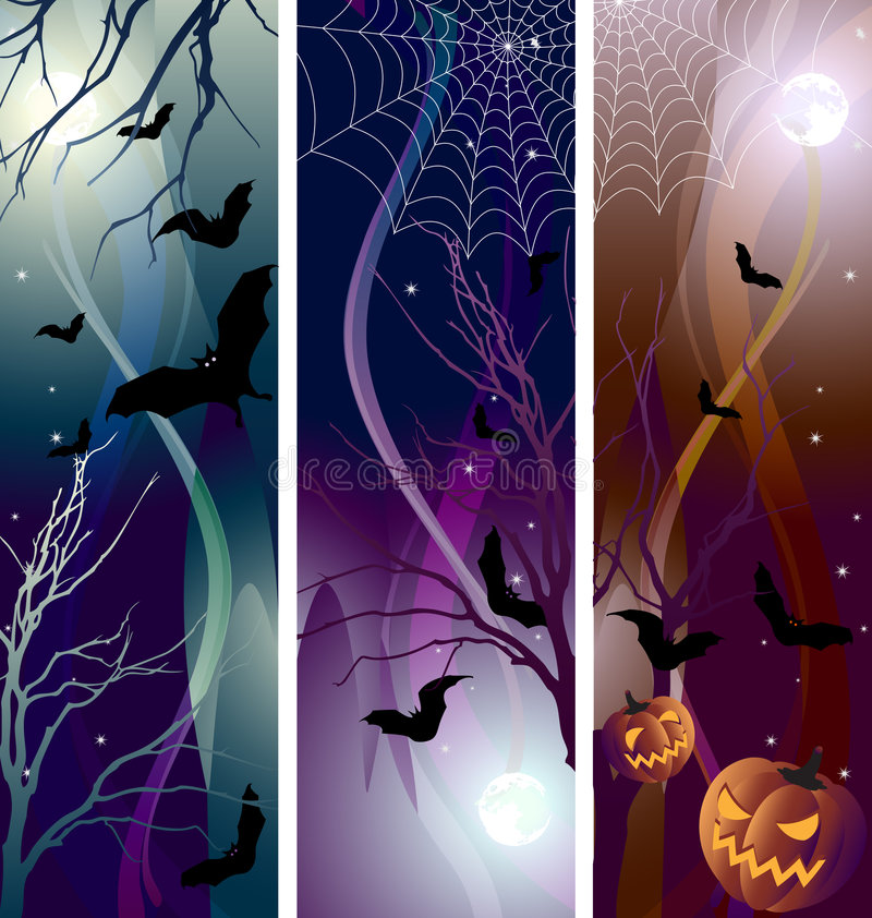 baner halloween royaltyfri illustrationer
