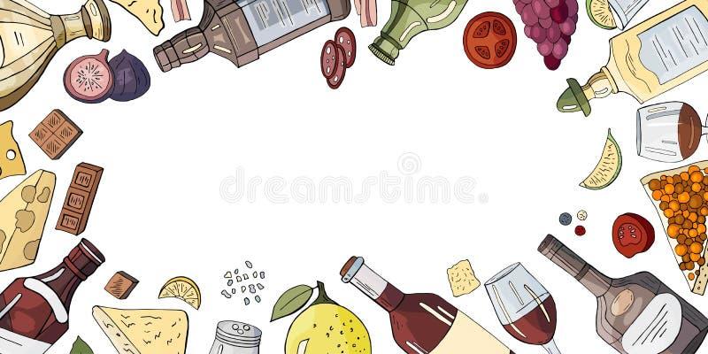 Baner horizontal d'alcool avec différents boissons et casse-croûte pour le menu de café sur le fond blanc illustration stock