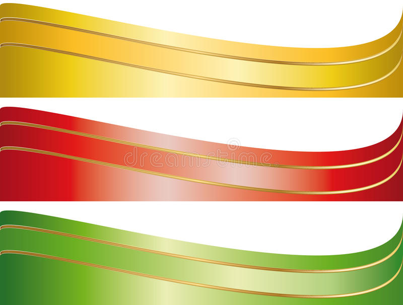 baner illustrerade det set bandet royaltyfri illustrationer